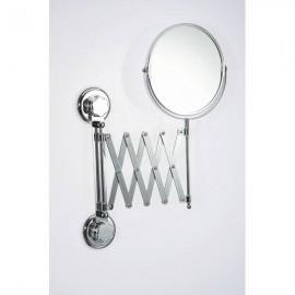 Miroir grossissant mural X2 double face télescopique pivotant chromé à ventouse