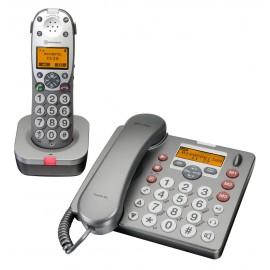 Téléphone Amplifié Sans Fil & Filaire, Grosses Touches, Amplicom PowerTel 880 Combo, Malentendant, Malvoyant