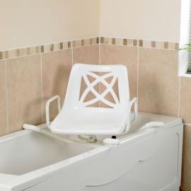 Siège Bain Pivotant, Plastique blanc, Base en acier inoxydable, Kinetec AA1285