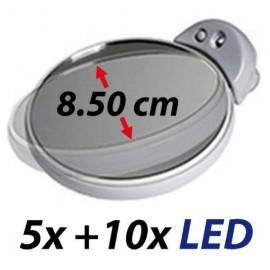 Petit double-miroir grossissant X5/X10 avec lumière LED