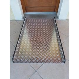 Rampe d'Accès pour Fauteuil Roulant, Tôle Damier Aluminium, Longueur 1,20 m Largeur 77 cm
