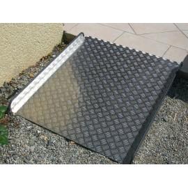 Rampe d'accès pour Handicapés, Longueur 1 m, Largeur 90 cm, Tole damier aluminium