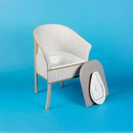 Chaise Percée en bois tissu, Assise rembourée amovible, Personnes âgées