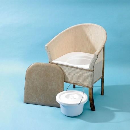 Fauteuil Percé, Chaise en bois, Assise en vinyle rembourrée, Personnes âgées
