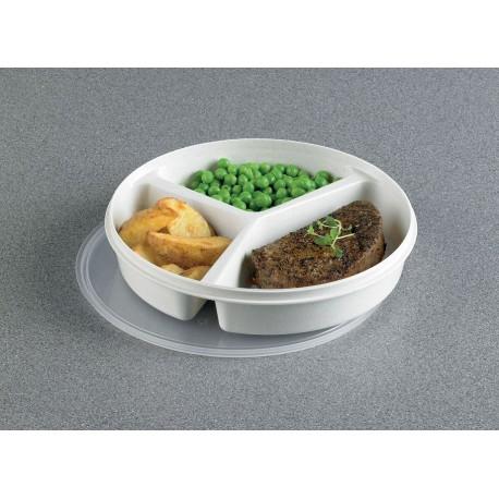 Assiette compartimentée avec couvercle et rebords, Personnes âgées, handicapées