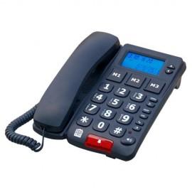 Téléphone Sénior Grosses Touches, Ecran LCD, 3 mémoires directes, Compatible appareil auditif