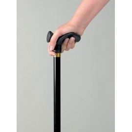 Canne de marche télescopique avec poignée profilée main droite - Uni noir