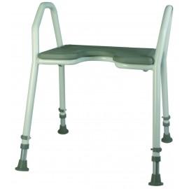 Tabouret / Chaise de douche avec accoudoirs et assise souple - Largeur 42 cm
