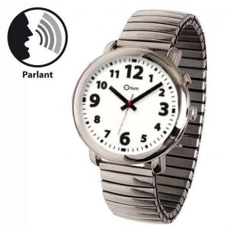 Montre parlante élégante - bracelet extensible en métal