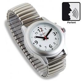 Montre parlante homme - bracelet extensible en métal